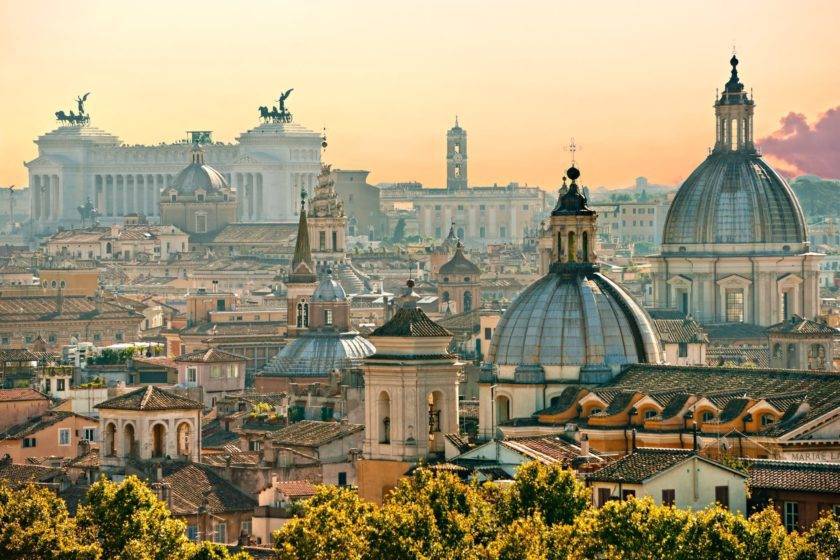 Rome rooftop view at dawn