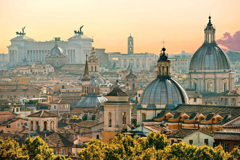 Rooftop views across Rome at dawn